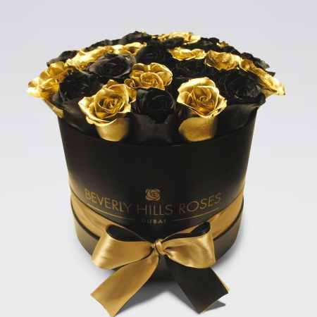 Black medium rose box in black star