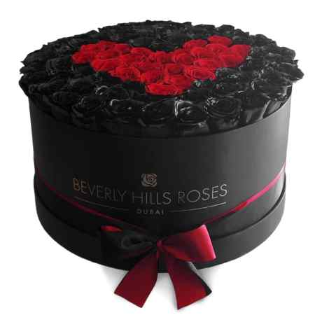 Large black rose box in deep love