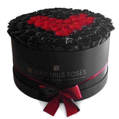 Large black rose box in deep love