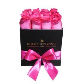 """Flower Shop Dubai """"Fuchsia"""" in Small Black Square Rose Box"""