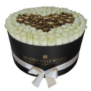 "Dubai Flowers ""White Love"" in Large Black Box"