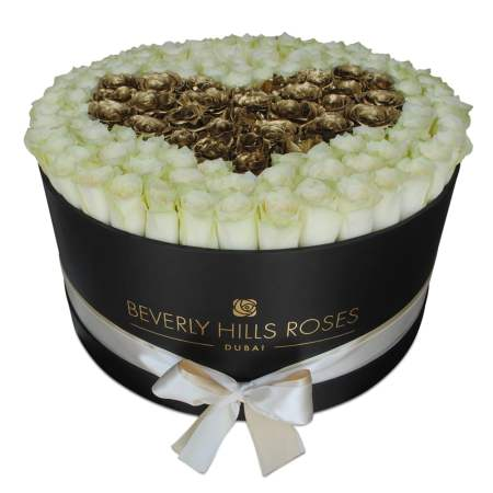 "Large black rose box in ""White Love"""