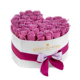 Purple and Pink roses in Heart Box
