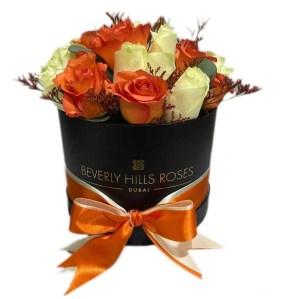Orange & White roses in Round Box
