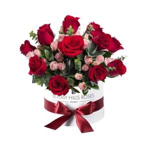 Red & Pink roses in 'Blushing Garden'
