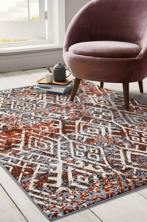 Beverly rug artemis collection vintage area rug 1003a grey brown firered