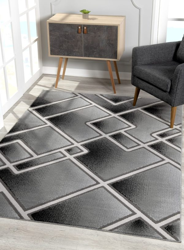 Beverly rug bella collection modern geometric area rug 00957a black grey