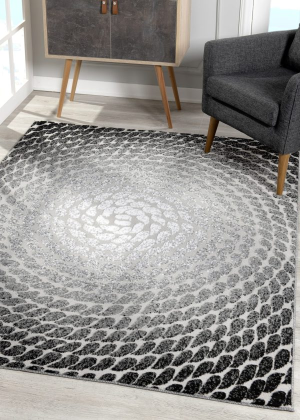 Beverly rug bella collection modern abstract area rug 00967a black grey