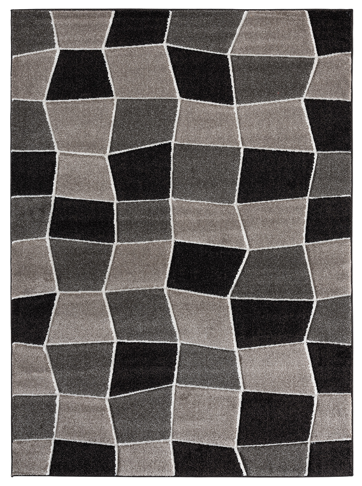 Ibiza Collection Geometric Blocks Abstract Area Rug 2810 Beige Brown Beverly Rug