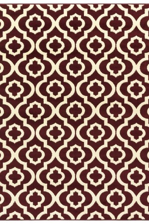 Beverly Rug Princess Collection Moroccan Trellis Lattice Area Rug 176 Bungundy and Bone