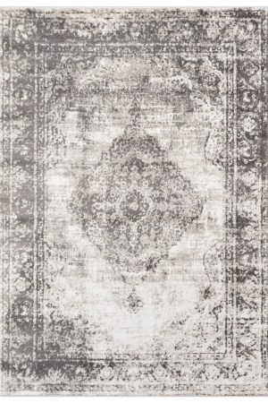 Beverly Rug Regal Collection Vintage Oriental Medallion Area Rug 170 bone and grey