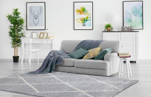 Beverly Rug Vienna Collection Modern Geometric Shaggy Area Rug G2927 light grey white
