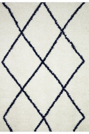 Beverly Rug Vienna Collection Modern Geometric Shaggy Area Rug G2927 White Dark Blue