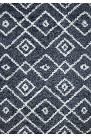 Beverly Rug Vienna Collection Modern Geometric Shaggy Area Rug G3716 Dark Grey and White