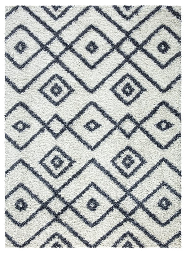 Beverly Rug Vienna Collection Modern Geometric Shaggy Area Rug G3716 White and Dark Grey