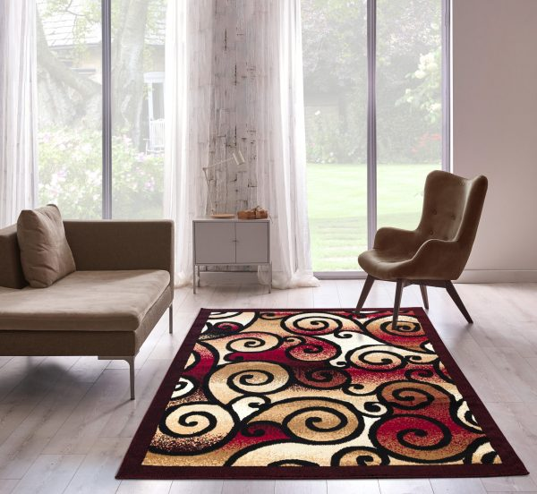 beverly rug Princess Collection Geometric Swirl Abstract Area Rug 806 Burgundy and Black