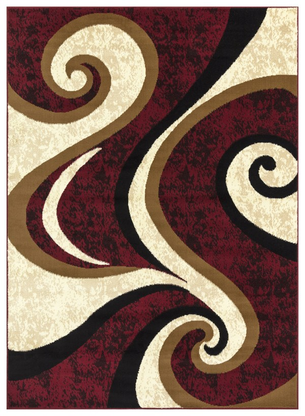 beverly rug Princess Collection Geometric Swirl Abstract Area Rug 808 cream burgundy