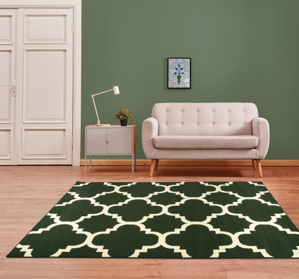 beverly rug princess collection moroccon trellis lattice area rug 810 cream and green