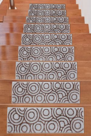 Beverly Rug Soft Rug Stair Treads Circles Design - Brown