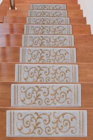 Beverly Rug Soft Rug Stair Treads Floral Design - Beige
