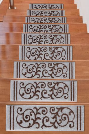 Beverly Rug Soft Rug Stair Treads Floral Design - Brown