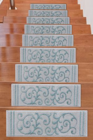 Beverly Rug Soft Rug Stair Treads Floral Design - Teal