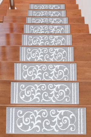 Beverly Rug Soft Rug Stair Treads Floral Design - White