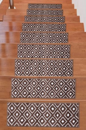 Soft Rug Stair Treads Trellis Design - Brown