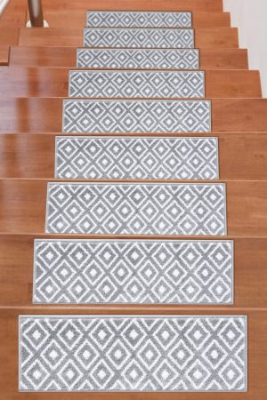 Beverly Rug Soft Rug Stair Treads Trellis Design - Grey