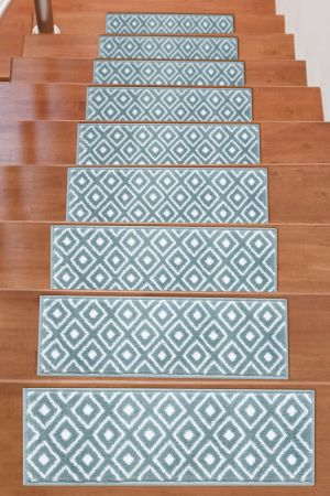 Soft Rug Stair Treads Trellis Design - Teal