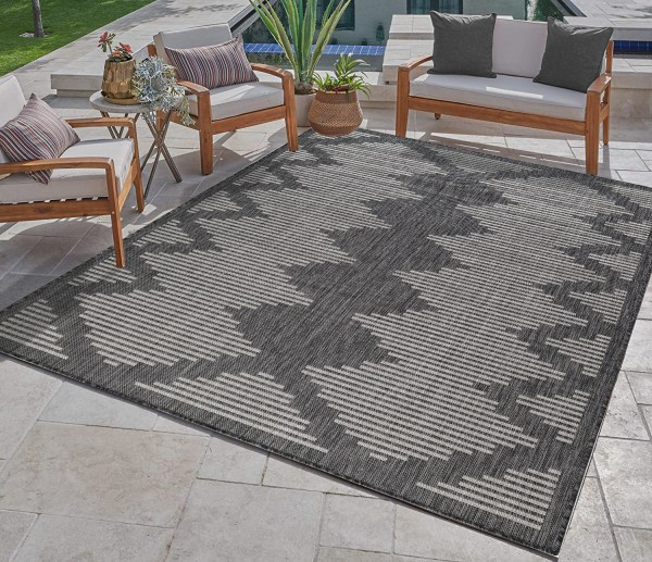 Waikiki Collection Indoor/Outdoor Area Rug - Pebble Grey & White