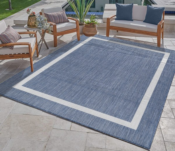 Waikiki Collection Indoor/Outdoor Bordered Area Rug - Blue & White