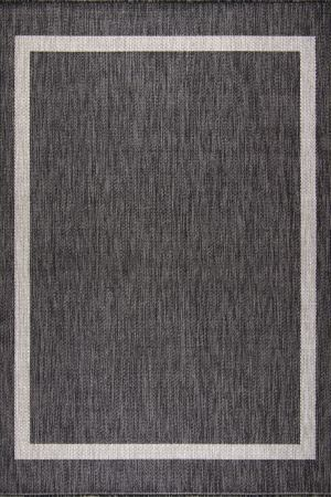 Waikiki Collection Indoor/Outdoor Bordered Area Rug - Pebble Grey & White