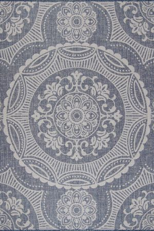 Waikiki Collection Indoor/Outdoor Medallion Area Rug - Blue & White