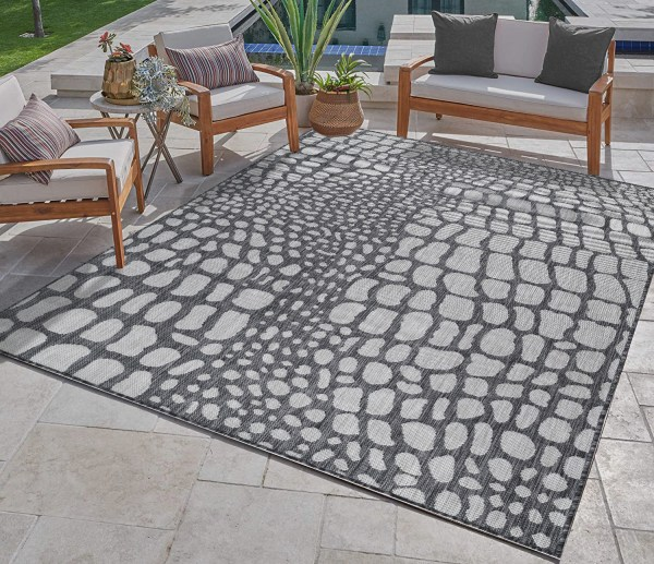Waikiki Collection Indoor/Outdoor Pebbles Area Rug - Pebble Grey & White