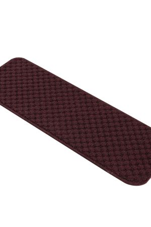 "Solid Color Indoor Carpet Stair Treads 8.5""x26"" Burgundy"