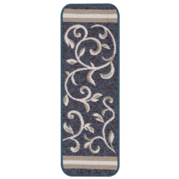 "Beverly Rug Floral Design Indoor Carpet Stair Treads 8'5""x26"" Blue"