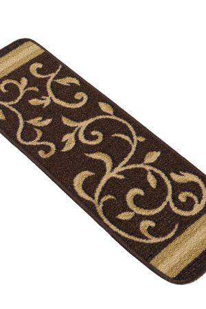 "Beverly Rug Floral Design Indoor Carpet Stair Treads 8.5""x26"" Brown"