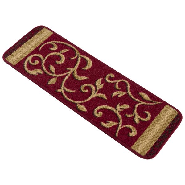 """Beverly Rug Floral Design Indoor Carpet Stair Treads 8.5""""x26"""" Red"""