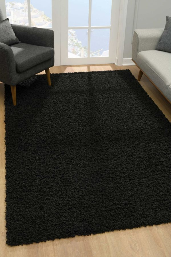 Malibu Collection Modern Shaggy Area Rug - Black