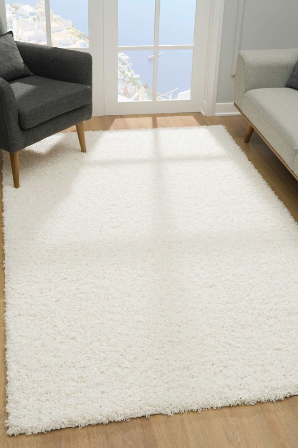 Malibu Collection Modern Shaggy Area Rug - White