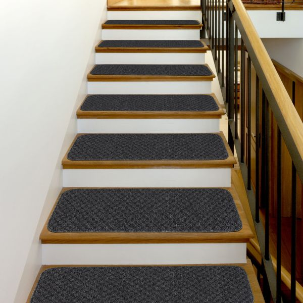 "Solid Color Indoor Carpet Stair Treads 8.5""x26"" Dark Gray"