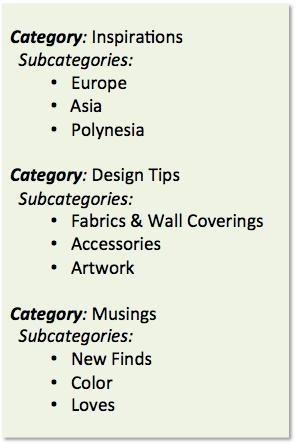 blog categories and tags, interior design blog, betsy kent, bevisible, be visible