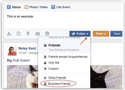 Facebook status updates lists