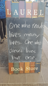 Laurel Bookstore, Oakland CA, quote on signboard