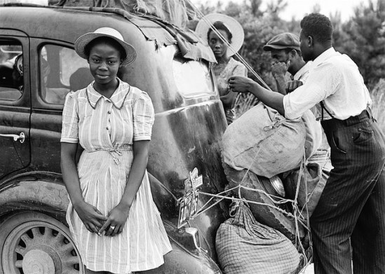 African American family, historic photo c. 1930's, packing car to leave