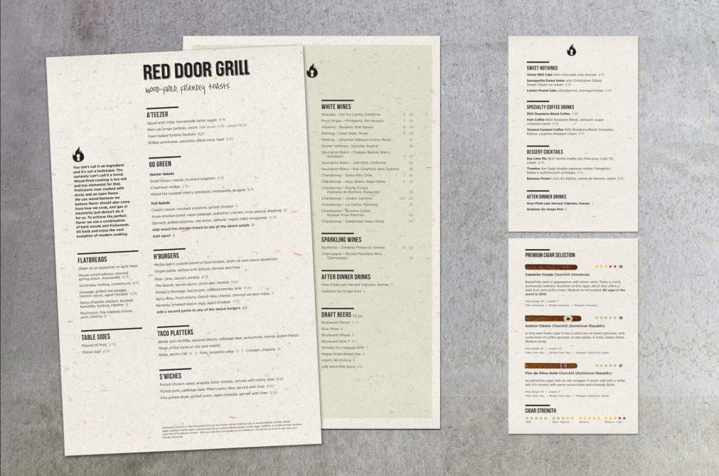 Red Door Grill Menus