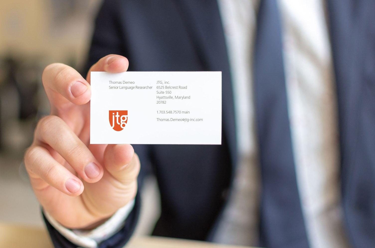 JTG, inc. business card