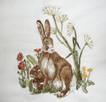 Hare with kittens