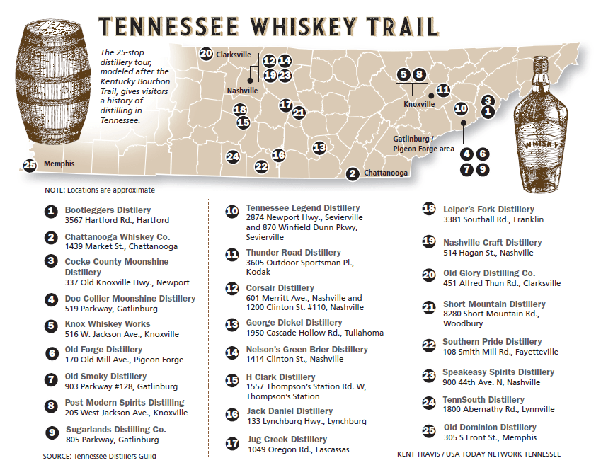 tennessee whiskey trail map